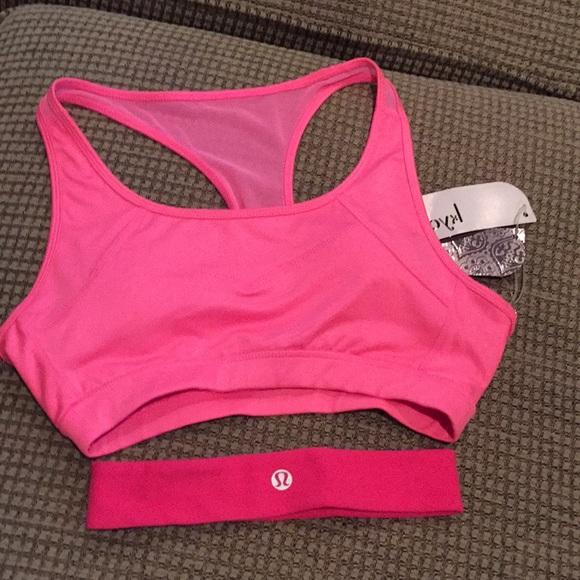 Kyodan pink sports bra and lululemon headband.